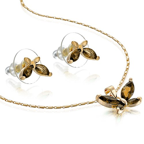 14K Gold Or Silver Rhodium Plated Butterfly Necklace & Earrings Set - Gold/Topaz, Janeo ()