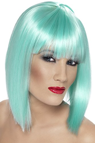 Smiffy's Women's Short Blunt Cut Neon Aqua Wig with Bangs, One size, Glam Wig, 5020570421376