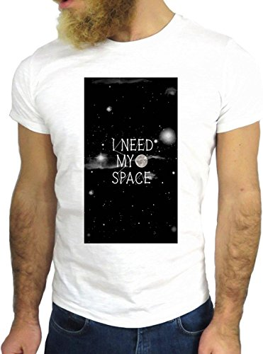 T SHIRT JODE Z1941 I NEED MY SPACE MOON NIGHT SKY LIFESTYLE FUN COOL FASHION GGG24 BIANCA - WHITE M