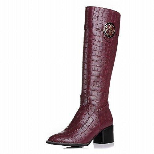 Show Shine Womens Fashion Knee-high Block-heel Western Boots Wine Red RIRFtYK