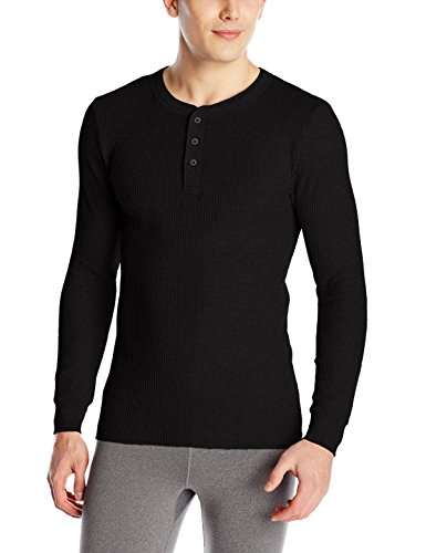 Fruit of the Loom Men's Classic Midweight Waffle Thermal Henley Top, Black Soot, Large