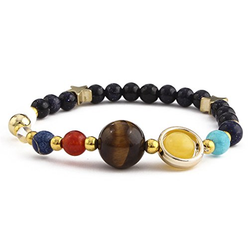 Universe Planets Beads Bangles & Bracelets Jewelry Natural Solar System Energy Bracelet For Women Or Men 2 (Solar Beads Jewelry)