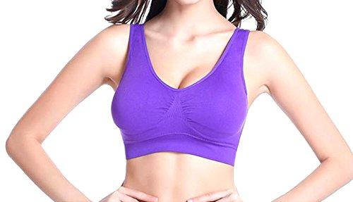 Fulok Women's Seamless Padded Freedom No Underwire Sport Bra Purple Medium
