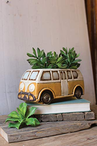 Kalalou Ceramic Yellow Van Planter, One Size, Multicolored