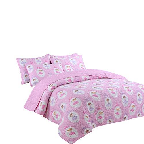 - Lotus Karen Pink Dancing Girls Quilt Set - 100% Cotton Quilted Bedspread for Little Girls - 2PC Kids Quilt Bedding Set - Reversible Pink Polka Dot Coverlet Set Twin Size