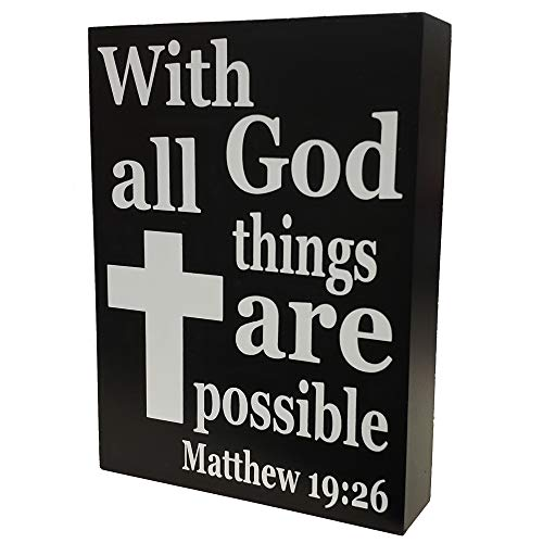 JennyGems - with God All Things are Possible Matthew 19:26 - Home Decor Religion Signage - Christian Gifts and Verses - Christian Wall Decor - Bible Verse Art