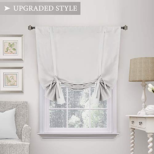 H.VERSAILTEX Thermal Insulated Blackout Curtain, Adjustable Tie Up Shade (Rod Pocket Panel for Small Window)-42
