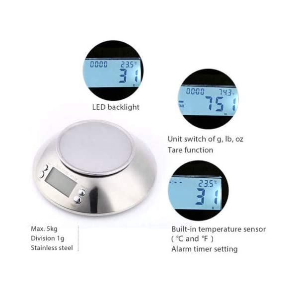 11lb 5kg x 1g High Precision Digital Kitchen Scale, MOCCO Stainless Steel Multifunction Accuracy Food Scale with Bowl 2.15L Liquid Volume Alarm Timer, Temperature, Backlight LCD Display for Cooking 419 2BVSn71lL