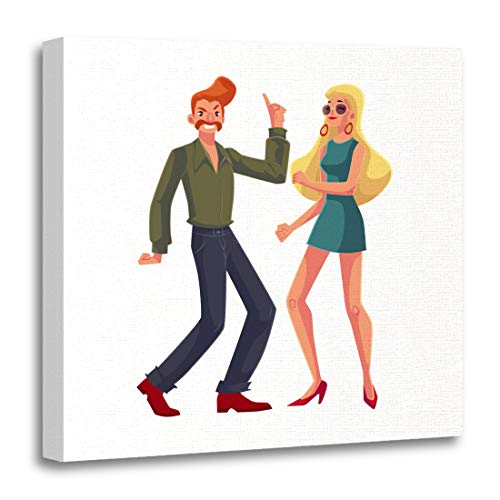 Emvency Canvas Wall Art Print Red Haired Man and Blond Woman 1970S Dancing Disco Artwork for Home Decor 12 x 12 Inches