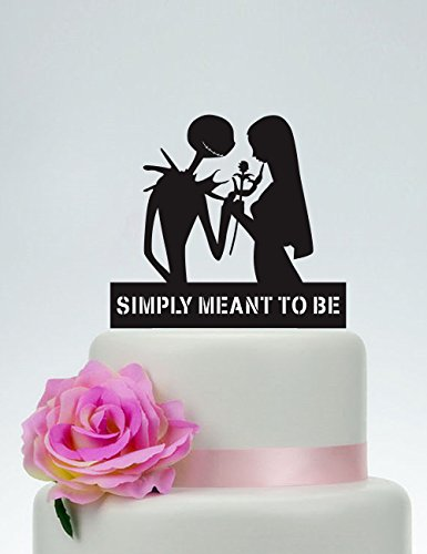 (Wedding Cake Topper,Simply Meant To Be,Jack Skellington Cake Topper, Jack and Sally, Halloween Wedding Topper)