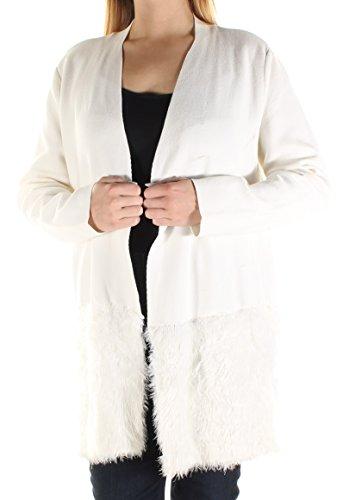 Alfani $89 Womens New 1170 Ivory Faux Fur Open Cardigan Long Sleeve Top L B+B