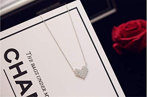 (P.phoebus 18K White Gold Heart Necklace Choker Statement Bib Swarovski Crystal Rhinestone Charms Pendant for Women Girls(11))
