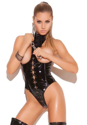 Elegant Moments Women's Lace Up Vinyl Cupless Teddy
