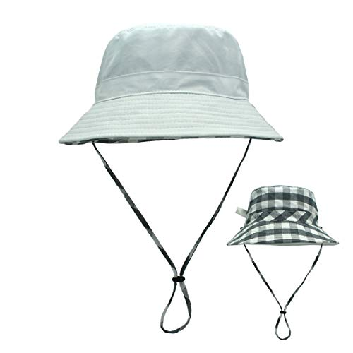- LLmoway Women Cotton Boonie Sun Hats Foldable Bucket Hat with Chin Strap Reversible Beach Hat White, Medium