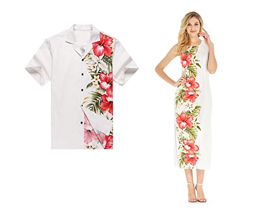 Made in Hawaii Couple Matching Luau Aloha Shirt Maxi Tank Dress Side Hibiscus White 2XL-XL