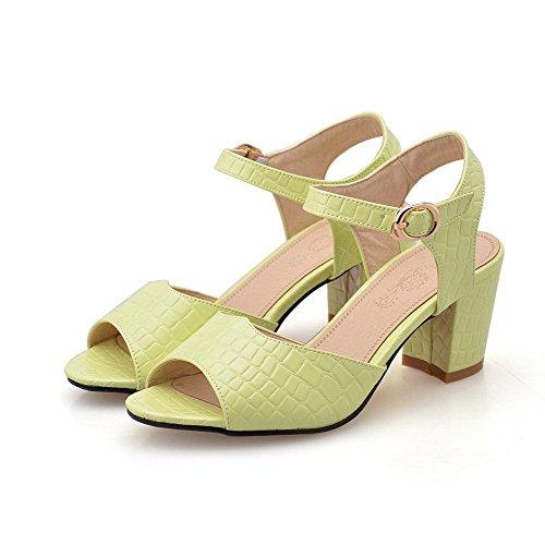 AllhqFashion Women's Buckle Open Toe Kitten-Heels PU Solid Sandals Yellow zbSVd06