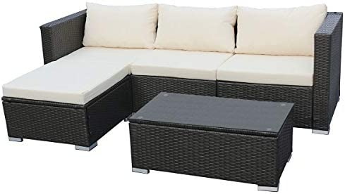 SVITA Queens Poly Rattan Sitzgruppe Couch Set Ecksofa Sofa Garnitur  Gartenmöbel Lounge Grau,
