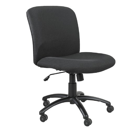 Safco Products Uber Big and Tall Mid Back Chair 3491BL, Black, Rated for 24/7 Use, Holds up to 500 lbs. (Optional arms sold separately)
