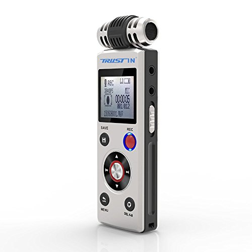 Trustin Portable Rechargeable 8GB Professional Digital Audio Voice Recorder with Dual Power Supply System Dictaphone