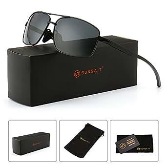 SUNGAIT Ultra Lightweight Rectangular Polarized Sunglasses 100% UV protection (Black Frame Gray Lens, 62) Metal Frame 2458 HKH