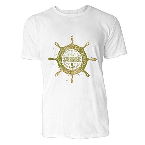 SINUS ART® Maritimes Vintage Steuerrad mit Anker Herren T-Shirts in Weiss Fun Shirt mit tollen Aufdruck