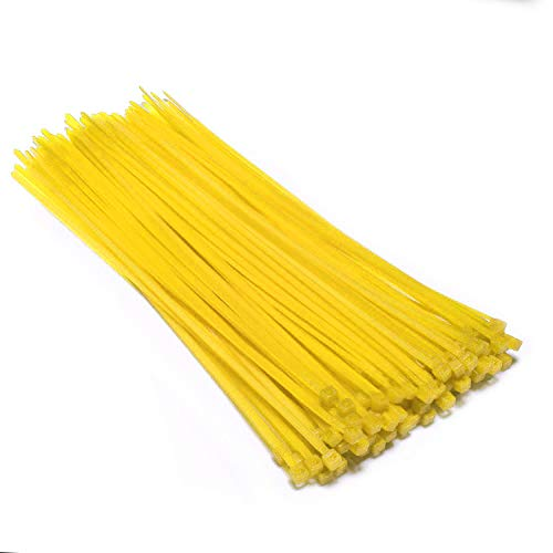 Multi-Purpose Nylon Zip Ties - (100 Piece) Self Locking Cable Ties with Ultra Strong Plastic 8, (Multiple Colors to Choose from - Yellow)