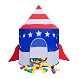 Kids Play Tent Space Rocket Ship Tent Girls Boys Tent Indoor Outdoor Playhouse Dome Tent for Kids Boys Girls Birthday Christmas Gift