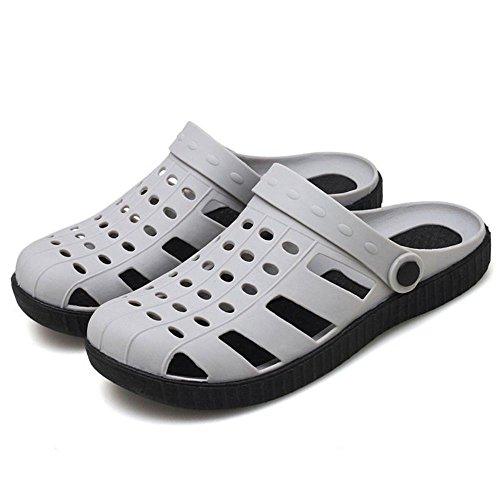 COOLCPET Men Classic Clogs Slip On Summer Sandals Gray klCCS