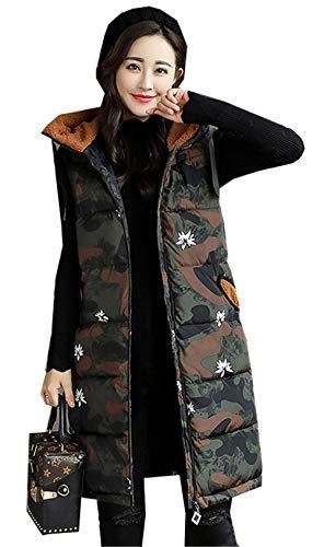 スモッグ最大限長さ[イダク] 中綿ベスト レディース 迷彩柄 ダウンベスト ロング丈 ベスト 秋冬服 軽量 あったか 暖かい 防風 防寒 ジャケット 大きいサイズ ダウンコート