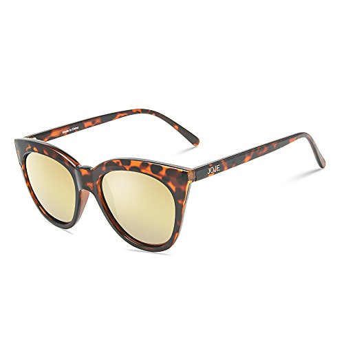 JOJE Sunglasses for Women's Cat Eye Vintage Retro Ultra Light Polarized Lens TR90 Superlight Frame J8003(Tortoise shell frame gold REVO lens) (Lens Tortoise Gold)