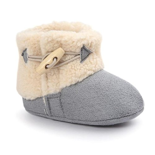 Ikevan Christmas Baby Girls Boys Prewalker Warm Cotton Boots Soft Bottom Toddler Shoes Snow Boots Crib Shoes Winter 0-18 Months (6~12 Month, Gray)
