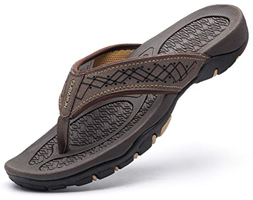 GUBARUN Mens Sport Flip Flops Comfort Casual Thong Sandals Outdoor(Brown 7.5) ()