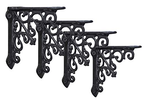 NACH js-90-061 Cast Iron Victorian Shelf Mount Bracket, Small 5 x 1 x 5 Inches, Black, 4 Pack
