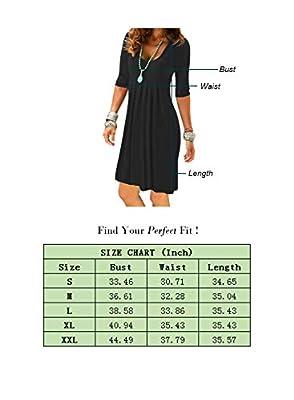 Women's Half Sleeve Empire Waist Pleated Dress Casual Plain Swing Dresses Knee Length