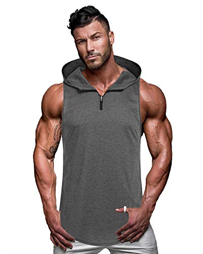 COOFANDY Men's Workout Hooded Tank Tops Sleeveless Gym Hoodie Cut Off T Shirt Lace-up Bodybuilding Muscle Hoodie (XL(US Large), Type 2-Grey)