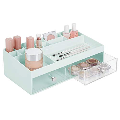 - mDesign Plastic Makeup Storage Caddy Box for Bathroom Vanity Countertop - 2 Drawers, 15 Top Shelf Compartments - Organizer Holds Lip Stick, Gloss, Blush Palettes, Brushes, Mascara - Mint/Clear