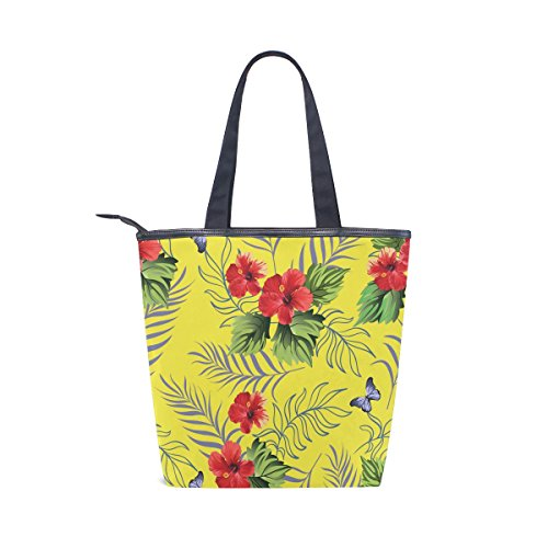 MyDaily Tropical Womens Canvas Handbag Flowers Hawaiian Hibiscus Bag Tote Shoulder rAF8Ucr