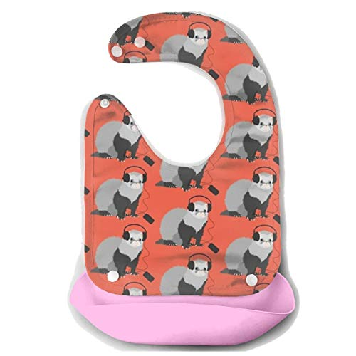 ROCKSKY Baby Bibs Drool Bib Water Ressistant Baby Bandana Bibs, Funny Musical Ferret Adjustable Snaps Bib Baby Bibs for Boys Girls 10-72 Months