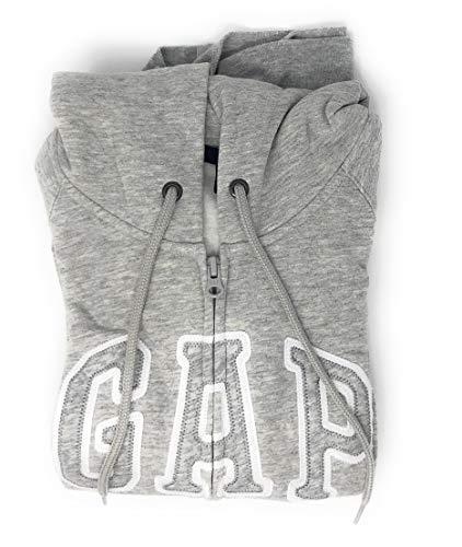 (GAP Women's Full Zip Fleece Logo Hoodie (X-Small, Heather Grey))