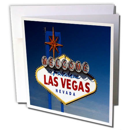 3dRose TDSwhite – Miscellaneous Photography - Travel Vegas Sign Dusk - 12 Greeting Cards with Envelopes (gc_285368_2)