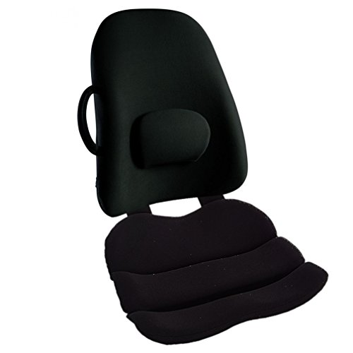 Obus Forme Combo Ergonomic Orthopedic Low Back Backrest And Contoured Seat Cushion - Back/Stress Pain Relieve -BLACK