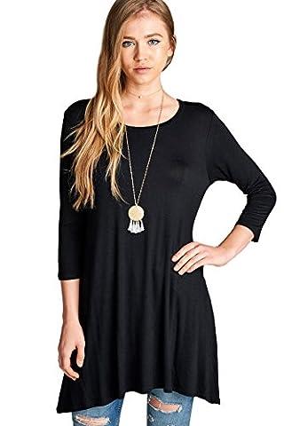 Womens 3/4 sleeve Round Neck Rayon Jersey Spandex Tunic Top (Black-XLarge) - Lycra Turtleneck Dress