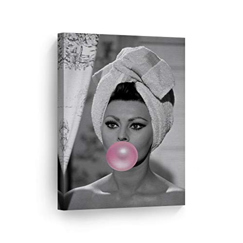 Sophia Loren Pink Bubble Gum Chewing Gum Black and White Wall Art CANVAS PRINT Sexy Icon in Shower Pop Art Home Decor Artwork Gallery Stretched and Ready to Hang - %100 Handmade in the USA - 12x8