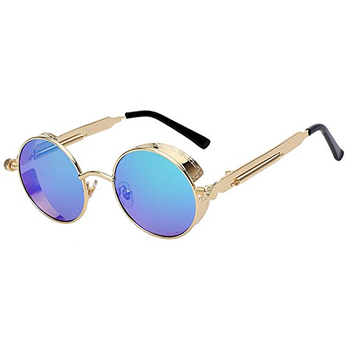 Steampunk Retro Gothic Vintage Hippie Gold Metal Round Circle Frame Sunglasses Green Mirror Lens - Glasses Circle Frame Wire