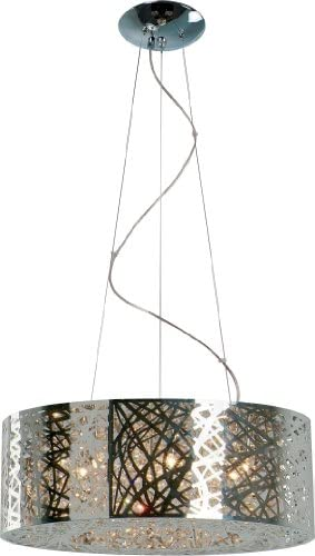 ET2 E21308-10PC Inca Modern Metal Web Laser-cut Sheath with Crystal Drum Pendant Ceiling Lighting, 9-Light Xenon 360 Watts, 10 H x 24 W, Polished Chrome