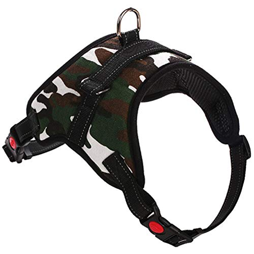 Adjustable Pet Chest Collar Dog Neck Strap Vest Harnesses Traction Belt Walking Lead Leash Belt/Lead Strap Optional,Camo,72-91cm ()