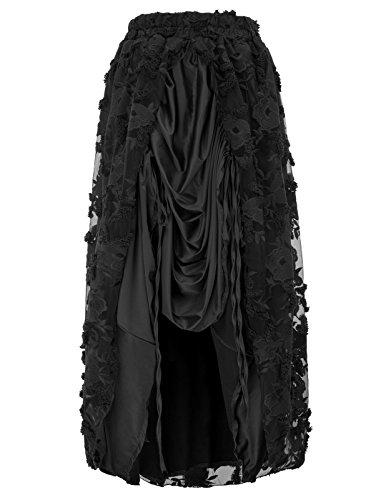 Women Black Gothic Victorian High Low Pirate Skirt Bustle Style BP584-1 S Black ()