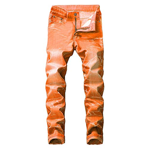 (Creazrise Slim Fit Jeans, Men's Younger-Looking Fashionable Colorful Super Comfy Stretch Skinny Fit Denim Jeans Orange)