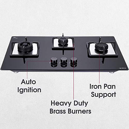 Elica-Hob-3-Burner-Auto-Ignition-Glass-Top-1-Large-1-Medium-1-Small-Brass-Burners-Flexi-Swirl-3B-75-Mt