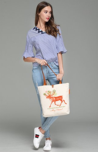 So'each Women's Christmas Sika Deer Graphic Top Handle Canvas Tote Shoulder Bag